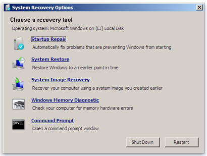 Windows System Repair Options Screen